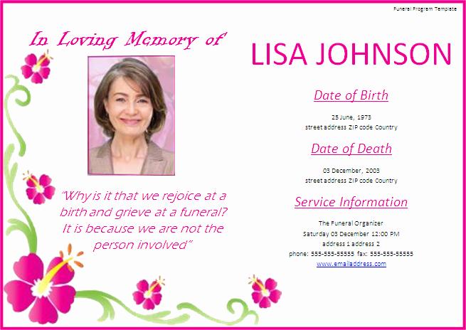Memorial Service Invitation Template New Funeral Program Templates