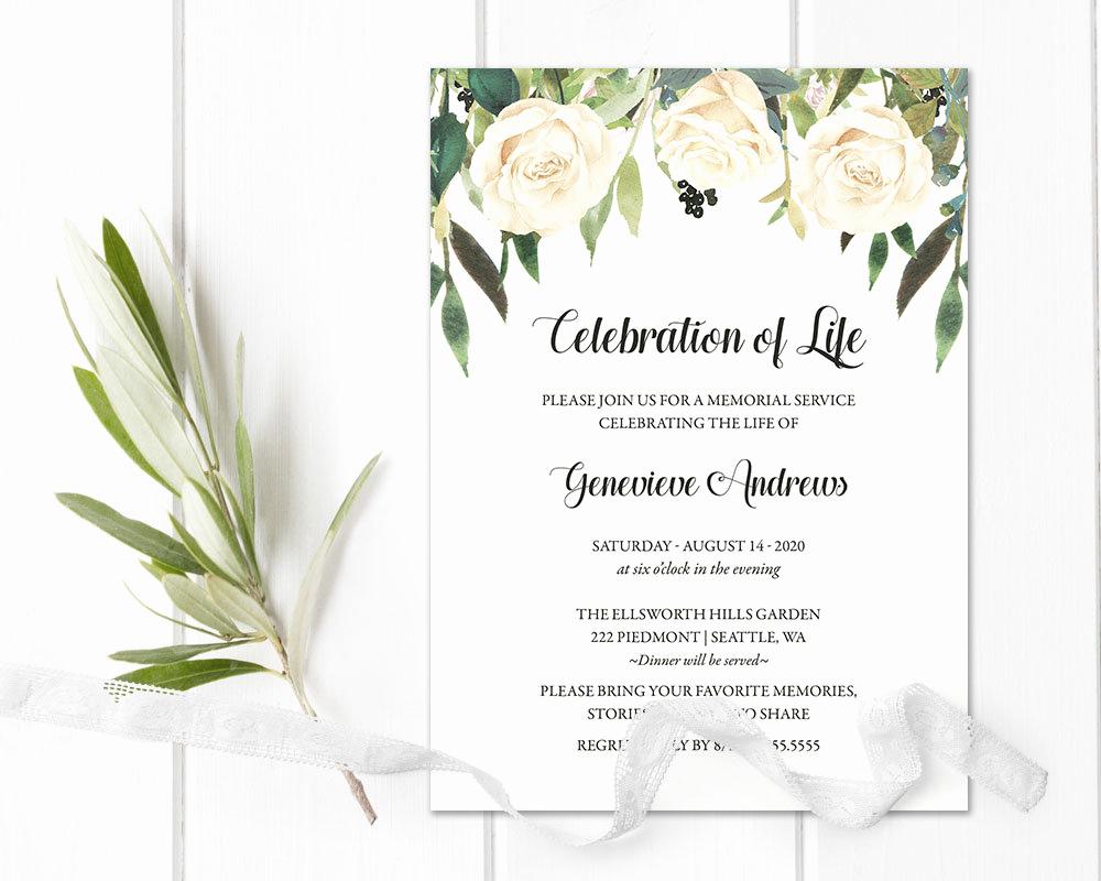 Memorial Service Invitation Template Unique Celebration Of Life Invitation Template Funeral