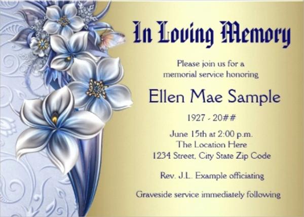 Memorial Service Invitation Template Unique Sample Funeral Invitation Template 11 Documents In Word