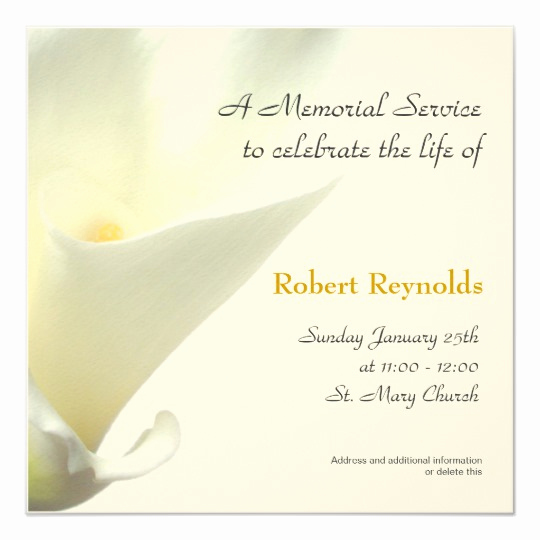 Memorial Service Invitation Wording Awesome Memorial Service Announcement