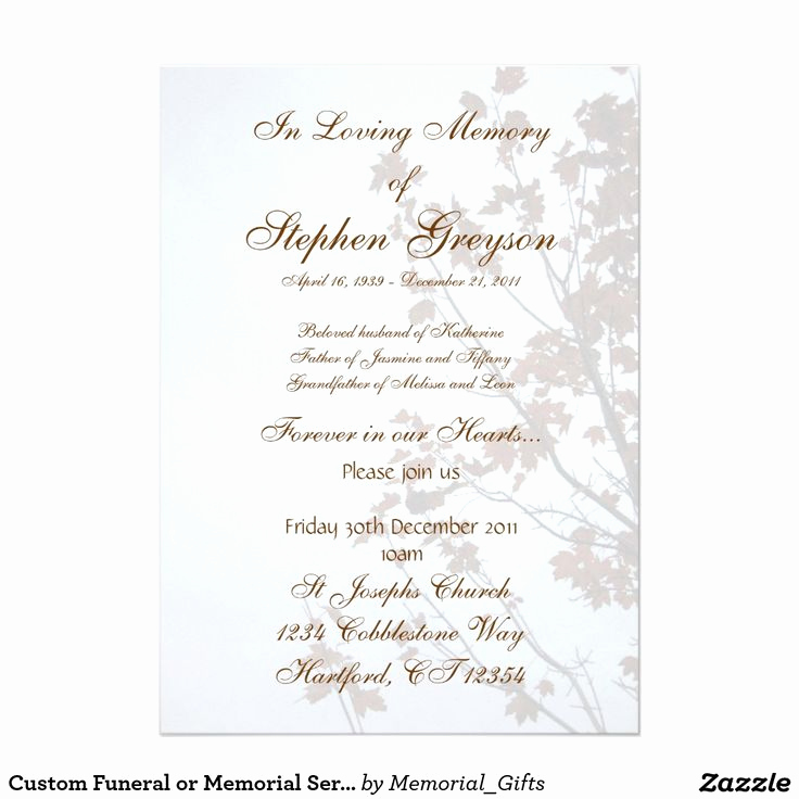 "Memorial Service Invitation Wording Elegant Custom Funeral or Memorial Service Announcement 5"" X 7"