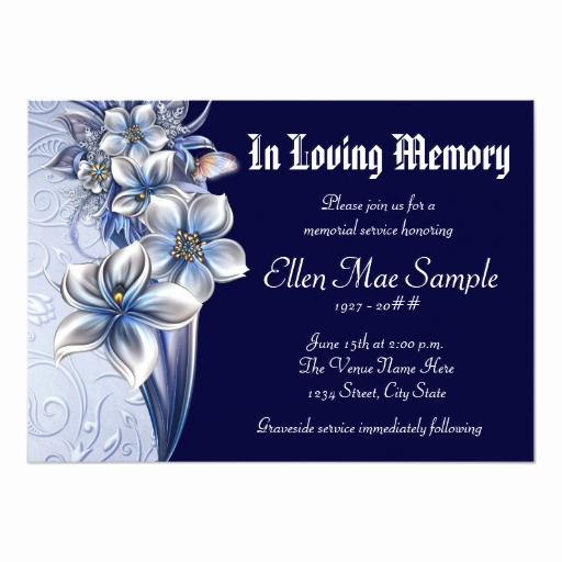 Memorial Service Invitation Wording Elegant Elegant Blue Memorial Service Announcements