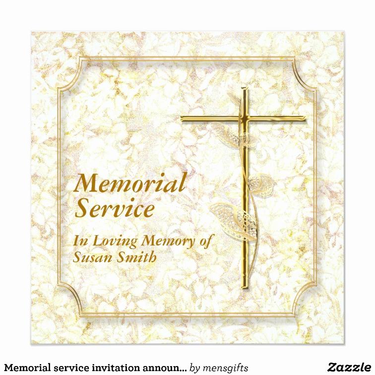 Memorial Service Invitation Wording Elegant Memorial Service Invitation Announcement Memory
