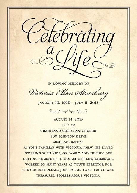 Memorial Service Invitation Wording Inspirational Celebration Of Life Memorial