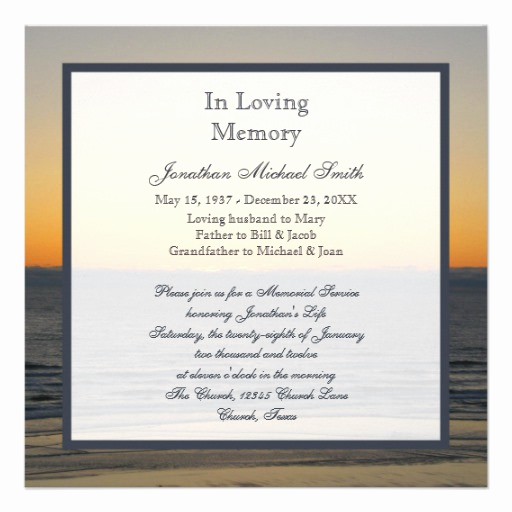 Memorial Service Invitation Wording Lovely Memorial Service Announcement Invitation