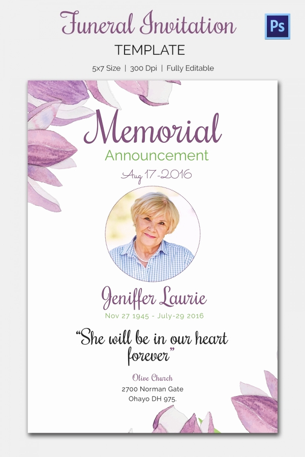 Memorial Service Invitation Wording New Funeral Invitation Template – 12 Free Psd Vector Eps Ai
