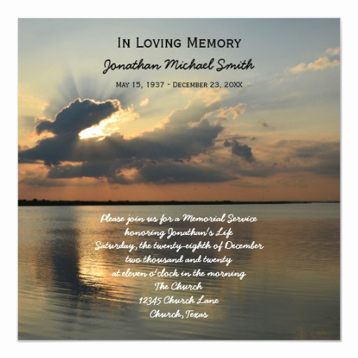 Memorial Service Invitation Wording New Memorial Service Announcement Invitation Sunset