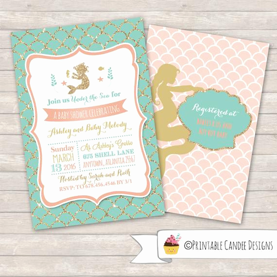 Mermaid Baby Shower Invitation Wording Awesome Mermaid Baby Shower Invitation Mermaid Baby by Printablecandee