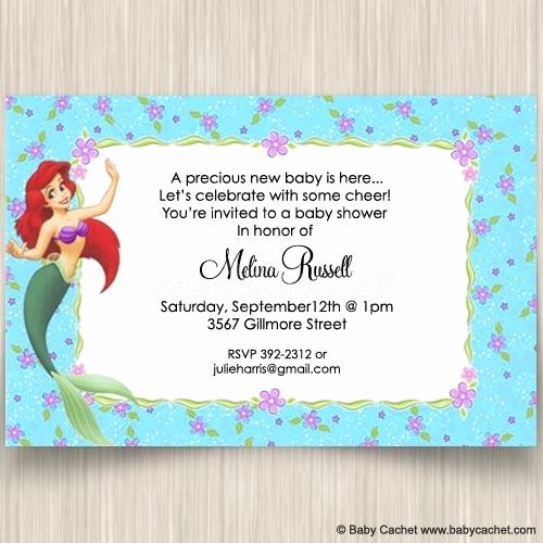 Mermaid Baby Shower Invitation Wording Beautiful Ariel Baby Shower Invitations Cobypic
