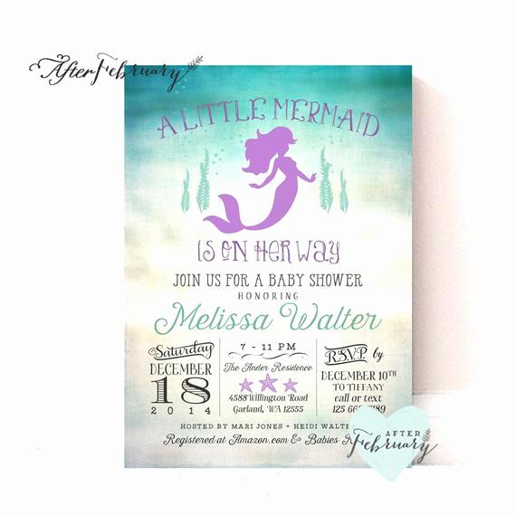 Mermaid Baby Shower Invitation Wording Beautiful Mermaid Baby Shower Invitation Little Mermaid by
