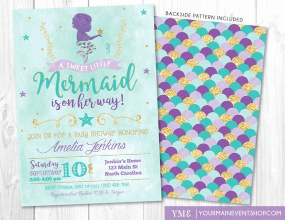 Mermaid Baby Shower Invitation Wording Beautiful Mermaid Baby Shower Invitation Little Mermaid Invite Under