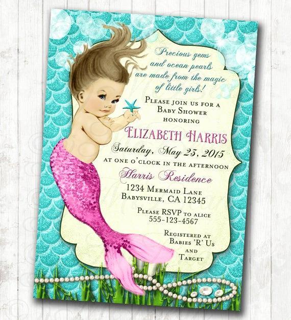 Mermaid Baby Shower Invitation Wording Beautiful Mermaid Baby Shower Invitation Little Mermaid Ocean Baby