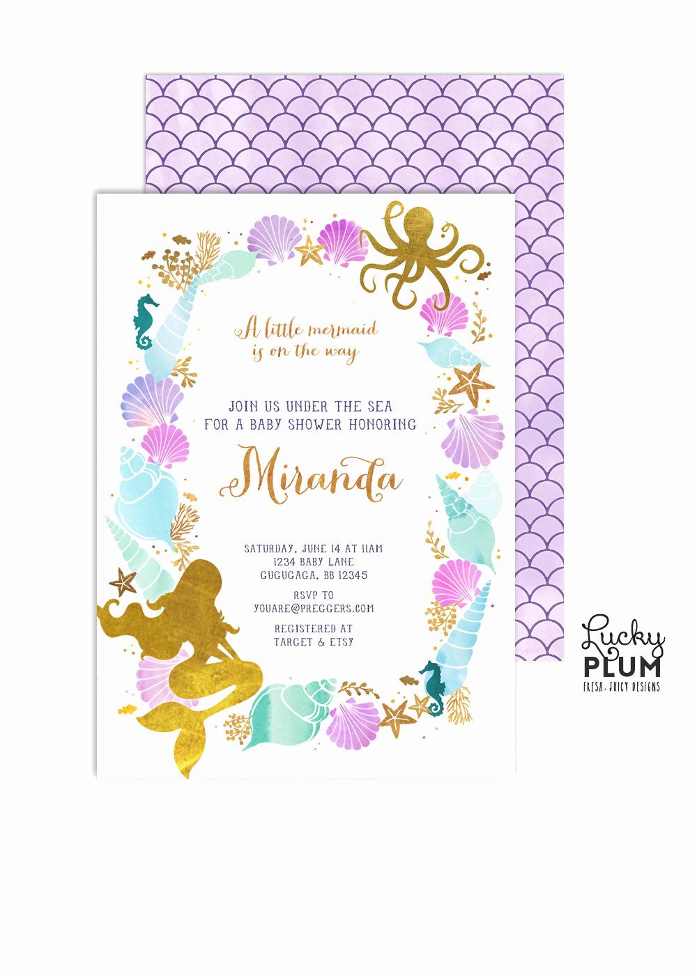 Mermaid Baby Shower Invitation Wording Beautiful Mermaid Baby Shower Invitation Ocean Baby Shower Invitation