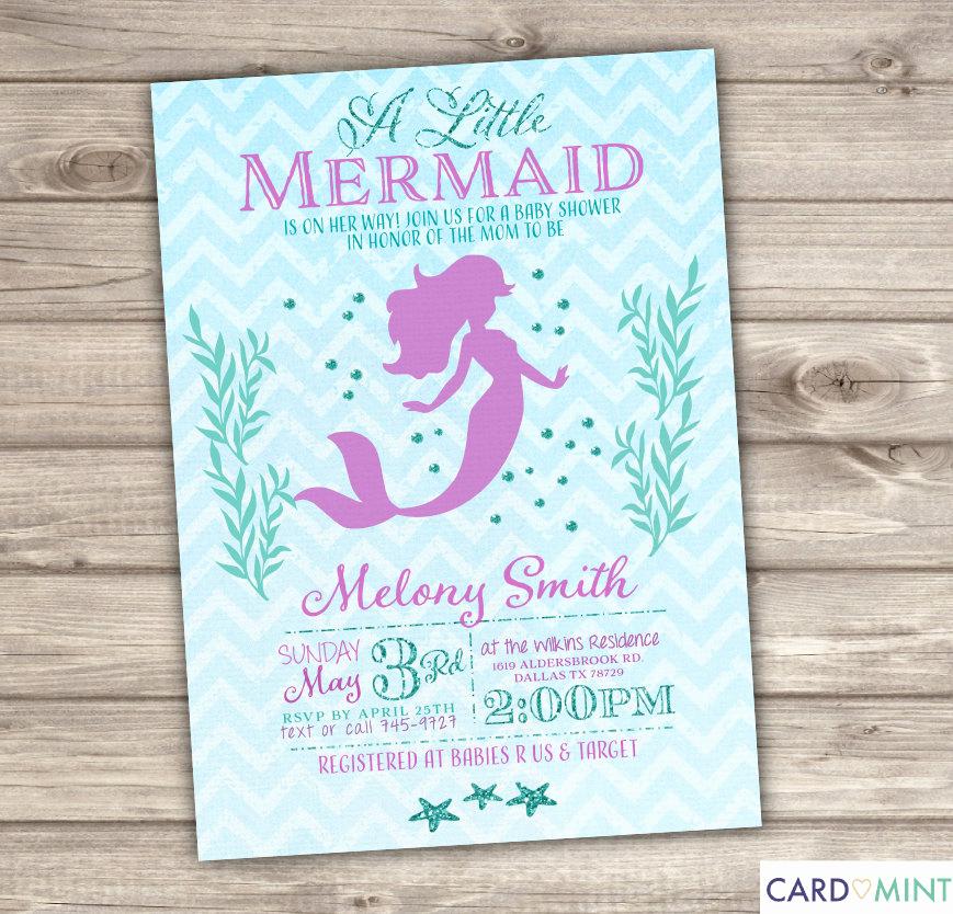 Mermaid Baby Shower Invitation Wording Elegant 50 Printed Mermaid Baby Shower Invitations Chevronlittle