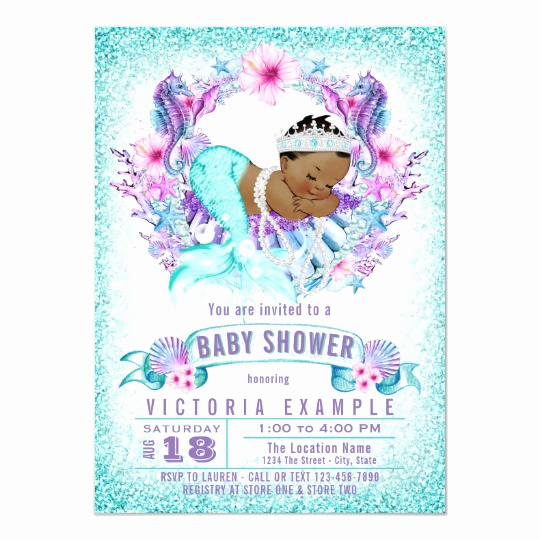 Mermaid Baby Shower Invitation Wording Elegant Ethnic Baby Mermaid Baby Shower Invitation