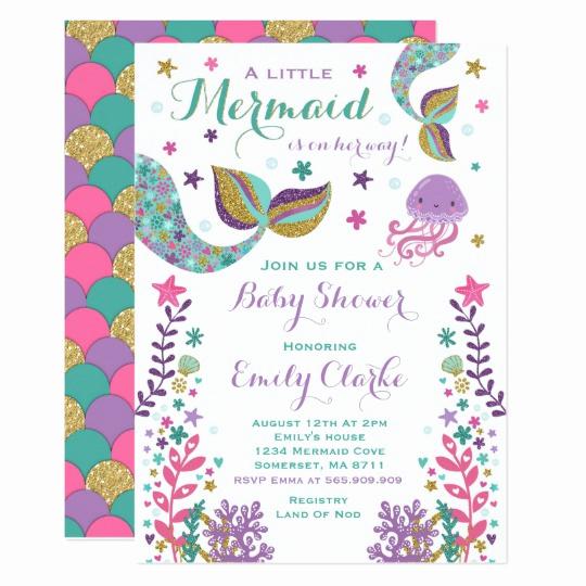 Mermaid Baby Shower Invitation Wording Elegant Mermaid Baby Shower Invitation Pink Gold Shower
