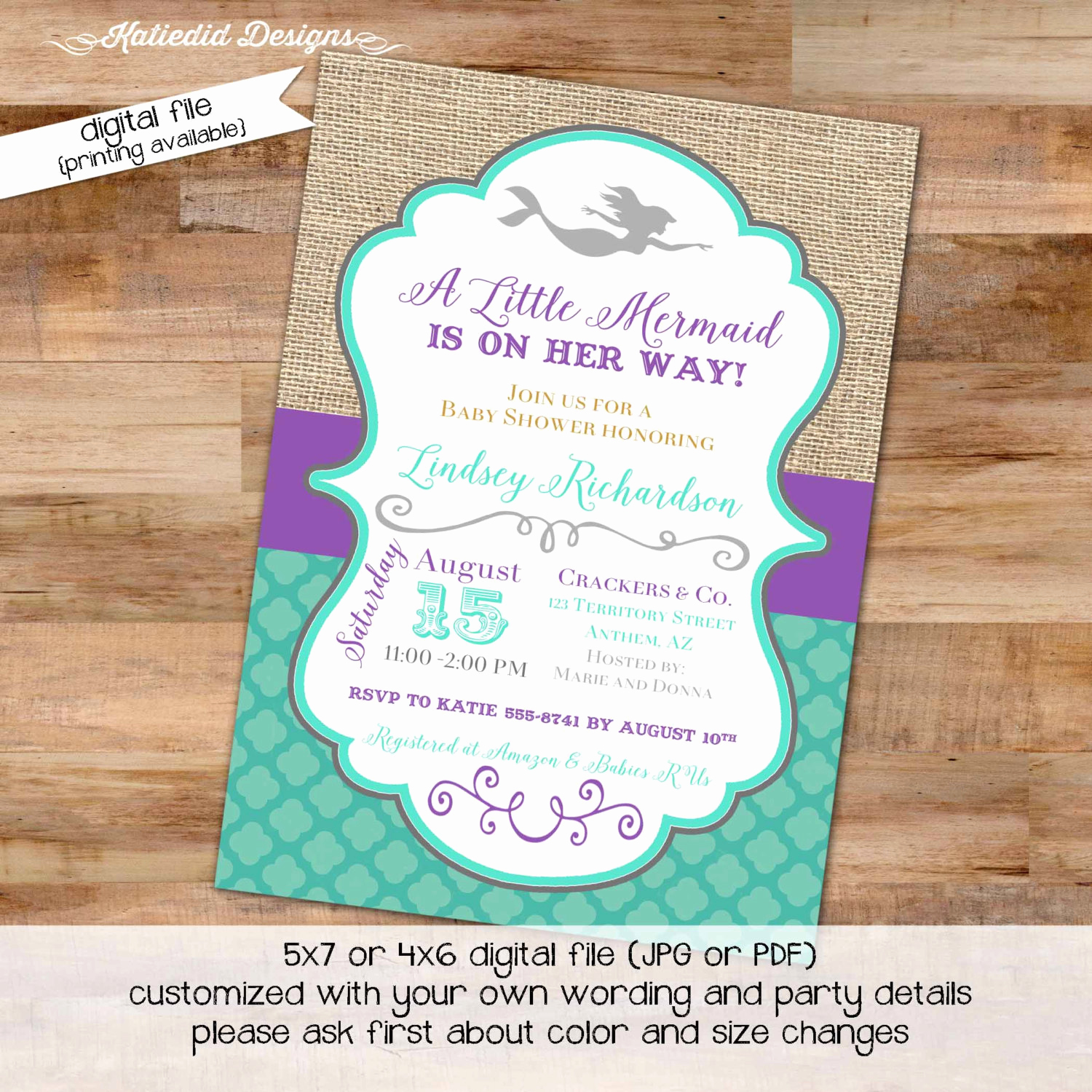 Mermaid Baby Shower Invitation Wording Inspirational Mermaid Baby Shower Invitation Bridal Shower Under the Sea