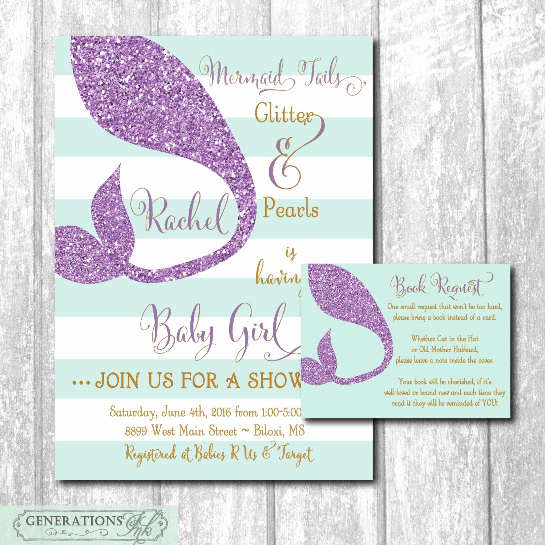Mermaid Baby Shower Invitation Wording Inspirational Mermaid Baby Shower Invitation Printable Digital Files