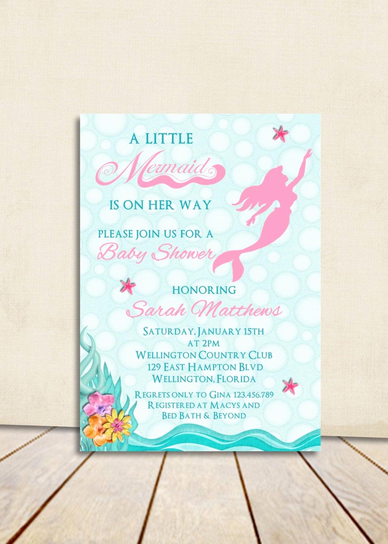 Mermaid Baby Shower Invitation Wording Inspirational Mermaid Girl Baby Shower Invitation Pink Under the Sea