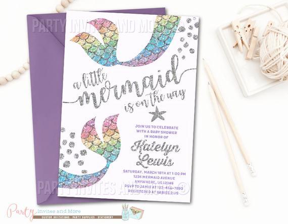 Mermaid Baby Shower Invitation Wording Inspirational Mermaid Invitation Mermaid Baby Shower Invitation Rainbow