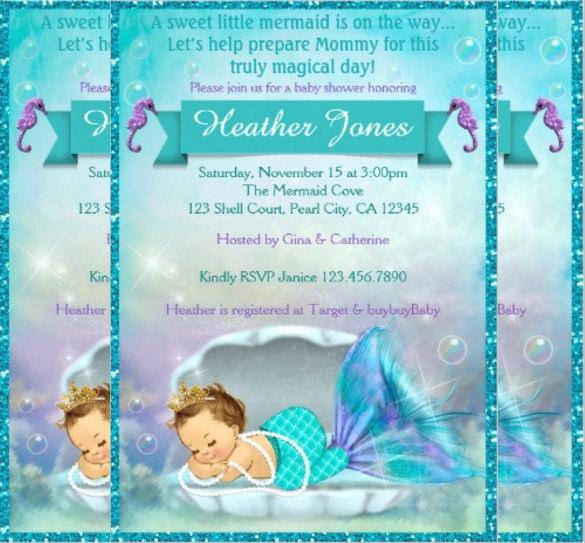 Mermaid Baby Shower Invitation Wording Lovely 39 Baby Shower Invitation Templates Psd Vector Eps Ai