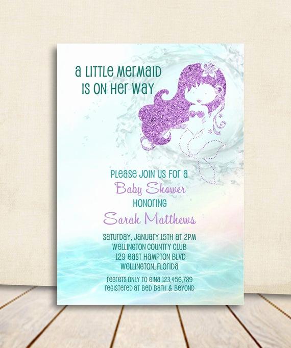 Mermaid Baby Shower Invitation Wording Lovely Mermaid Baby Shower Invitation Turquoise and Purple Glitter