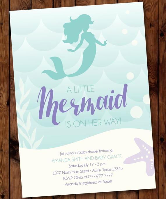 Mermaid Baby Shower Invitation Wording Luxury Under the Sea Baby Shower Mermaid Baby Shower Invitation