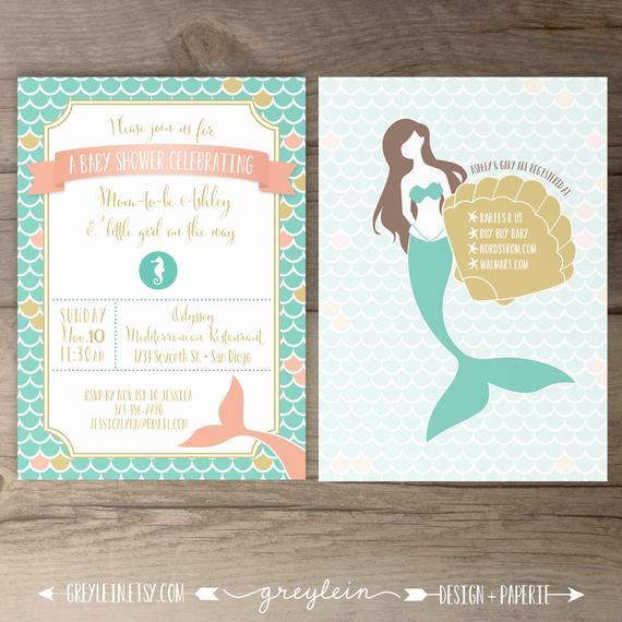 Mermaid Baby Shower Invitation Wording New Mermaid Baby Shower Invitations Birthday Mermaid Seashell