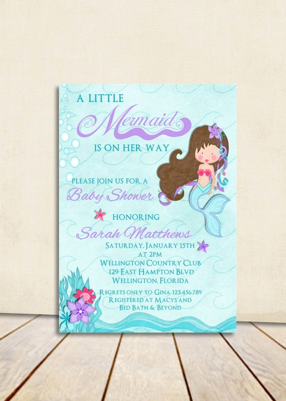 Mermaid Baby Shower Invitation Wording Unique Mermaid Baby Shower Invitation Teal and Lavender Little