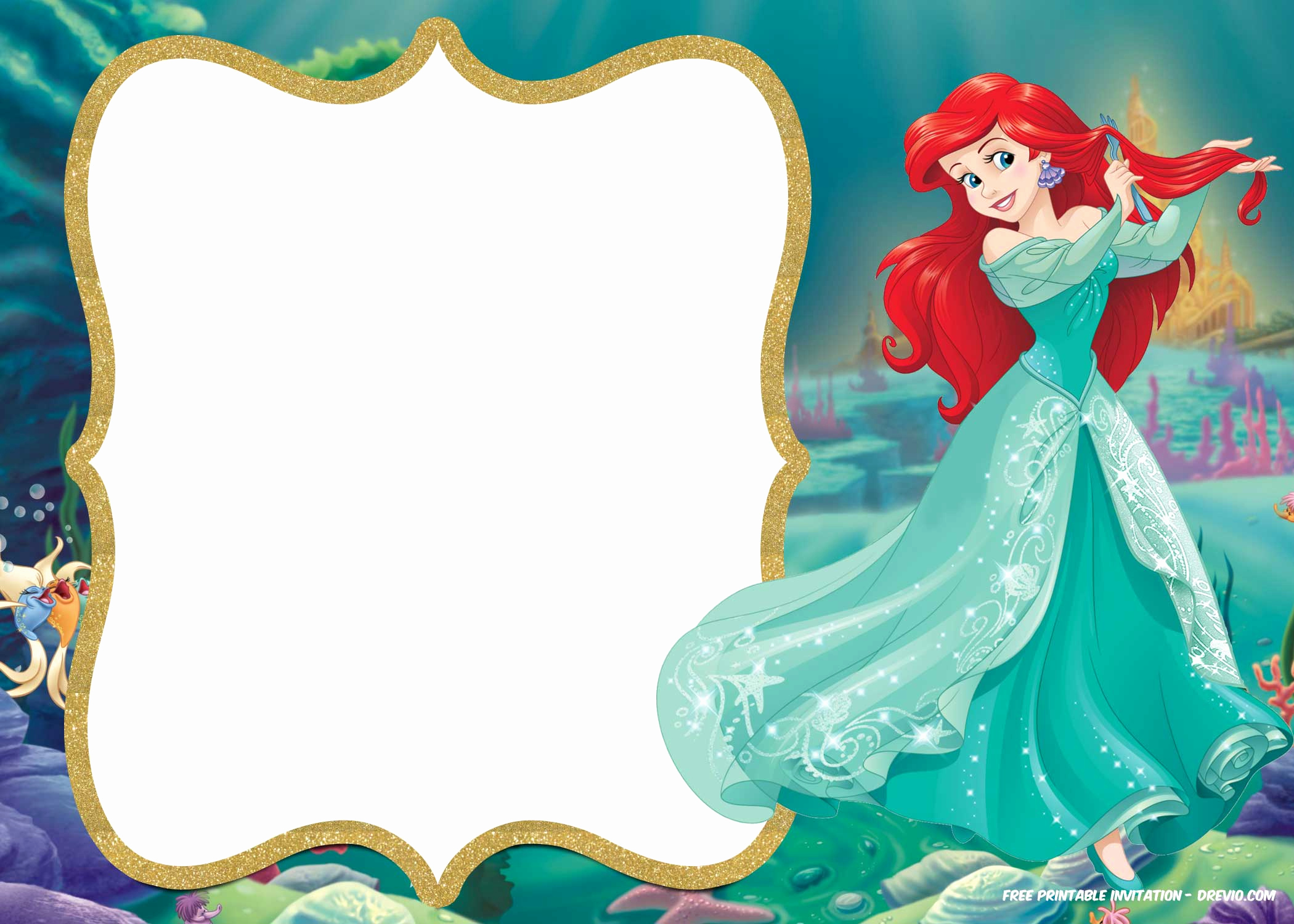 Mermaid Birthday Invitation Templates Awesome Free Printable Ariel Little Mermaid Invitation Template