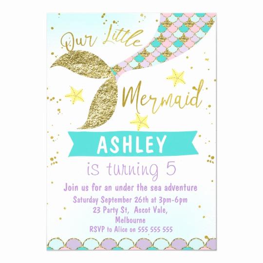 Mermaid Birthday Invitation Templates Awesome Mermaid Tail Birthday Invitation
