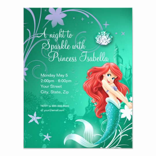 Mermaid Birthday Invitation Templates Beautiful Ariel the Little Mermaid Birthday Invitation