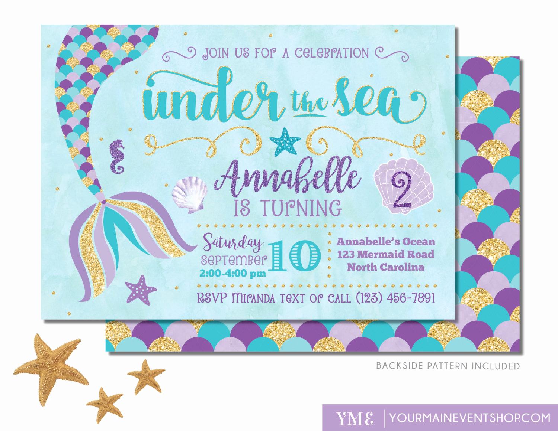 Mermaid Birthday Invitation Templates Beautiful Mermaid Birthday Invitation Mermaid Invite Under the Sea