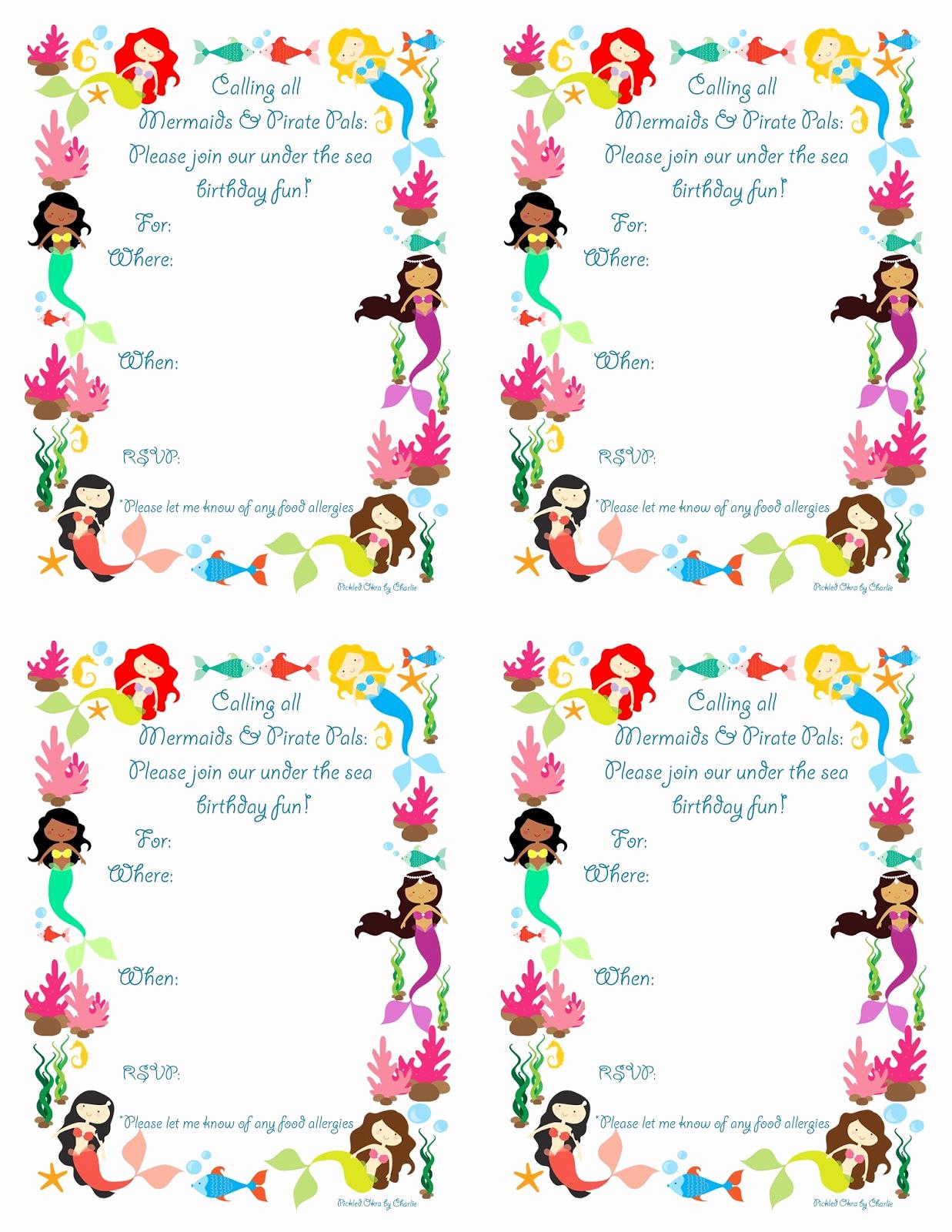 Mermaid Birthday Invitation Templates Beautiful Mermaid Bithday Party Invitations Free Printable