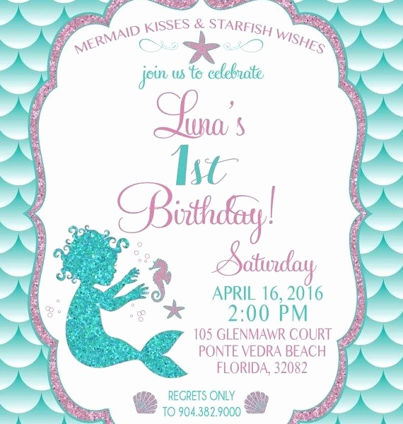 Mermaid Birthday Invitation Templates Beautiful Mermaid Invitation Template Cobypic