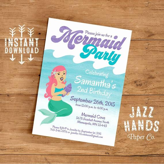 Mermaid Birthday Invitation Templates Elegant Mermaid Birthday Invitation Template Diy by Jazzhandspaperco