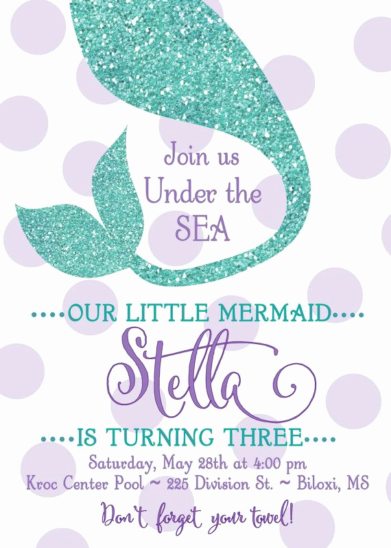 Mermaid Birthday Invitation Templates Elegant Mermaid Birthday Party Invitation Under the Sea by