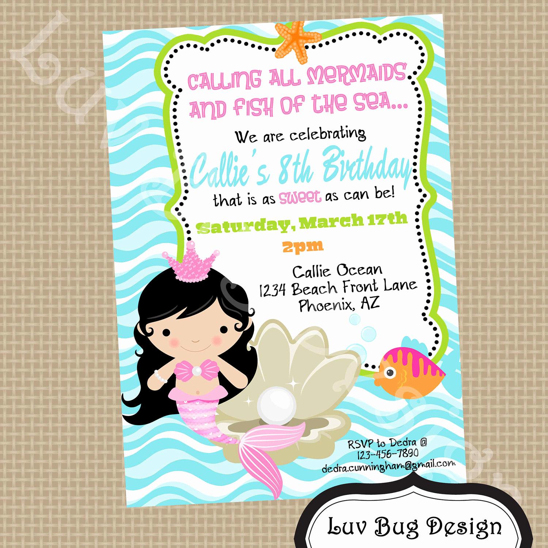 Mermaid Birthday Invitation Templates Elegant Mermaid Birthday Party Invitations – Bagvania Free