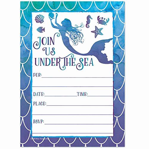 Mermaid Birthday Invitation Templates Elegant Under the Sea Invitations Amazon