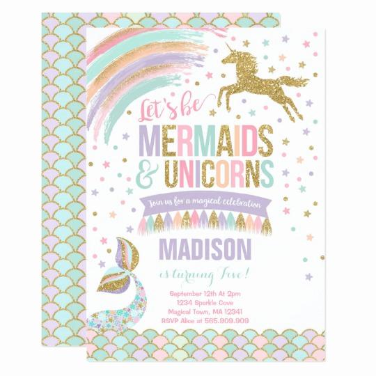 Mermaid Birthday Invitation Templates Fresh Mermaid & Unicorn Birthday Invitation Magic Party