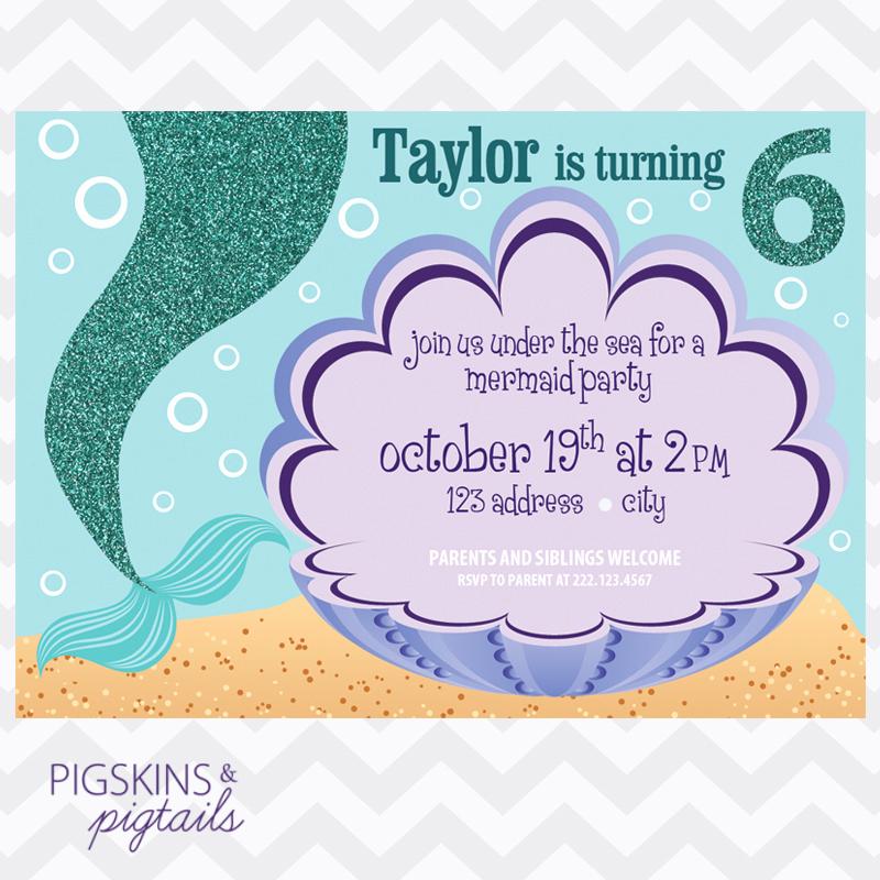 Mermaid Birthday Invitation Templates Fresh Mermaid Birthday Party Invitation Pigskins & Pigtails