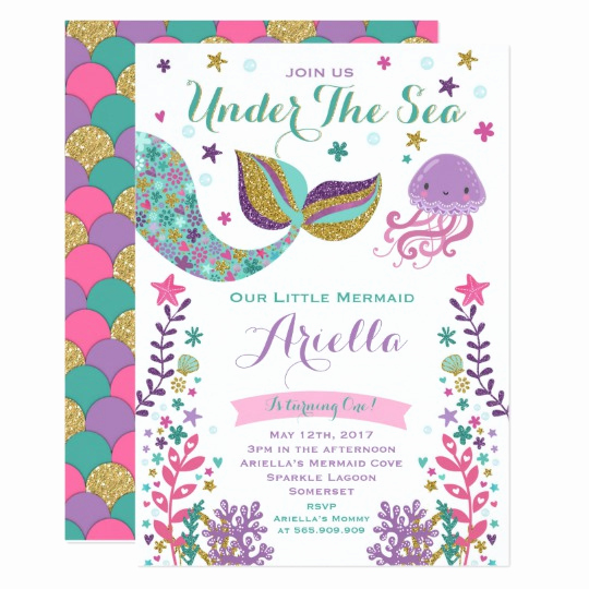 Mermaid Birthday Invitation Templates Lovely Mermaid Birthday Invitation Under the Sea Party