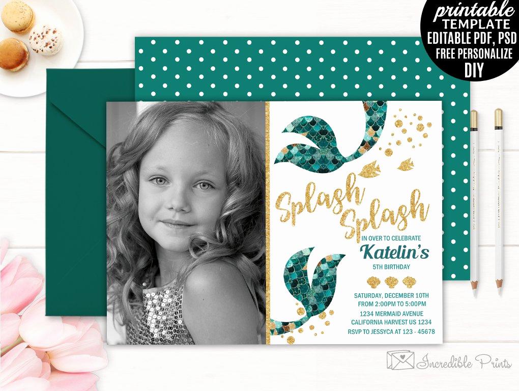 Mermaid Birthday Invitation Templates Lovely Mermaid Girl Birthday Invitation Invitation Templates