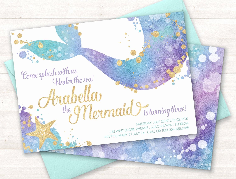 Mermaid Birthday Invitation Templates Luxury Mermaid Invitation Mermaid Party Invite Under the Sea Party