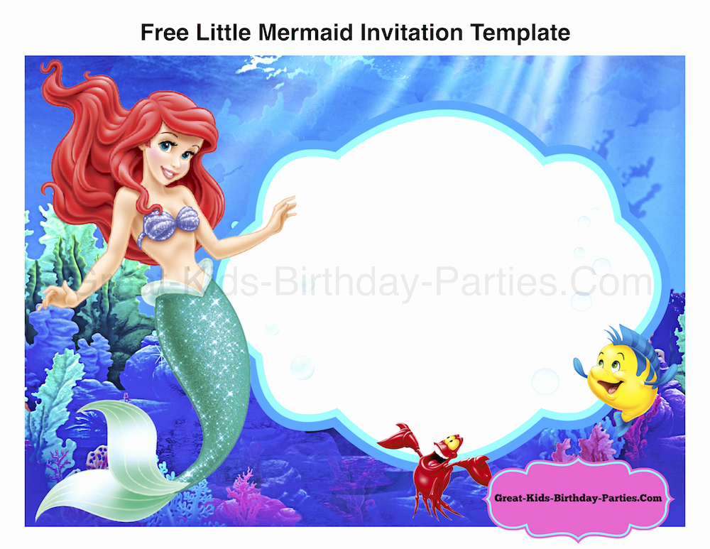 Mermaid Birthday Invitation Templates New Free Little Mermaid Invitation Template