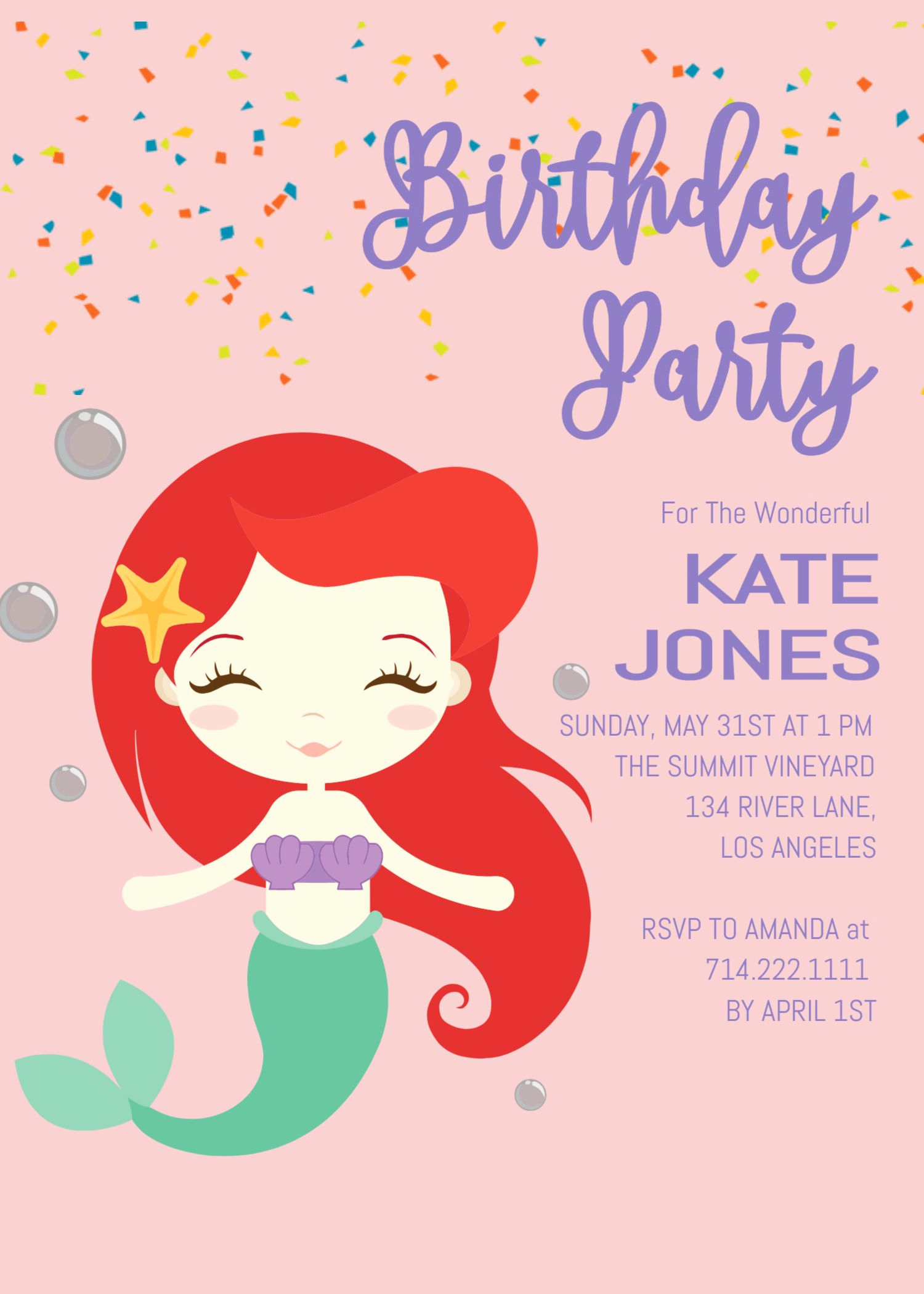 Mermaid Birthday Invitation Templates New Little Mermaid Birthday Invitation Invite Under the Sea