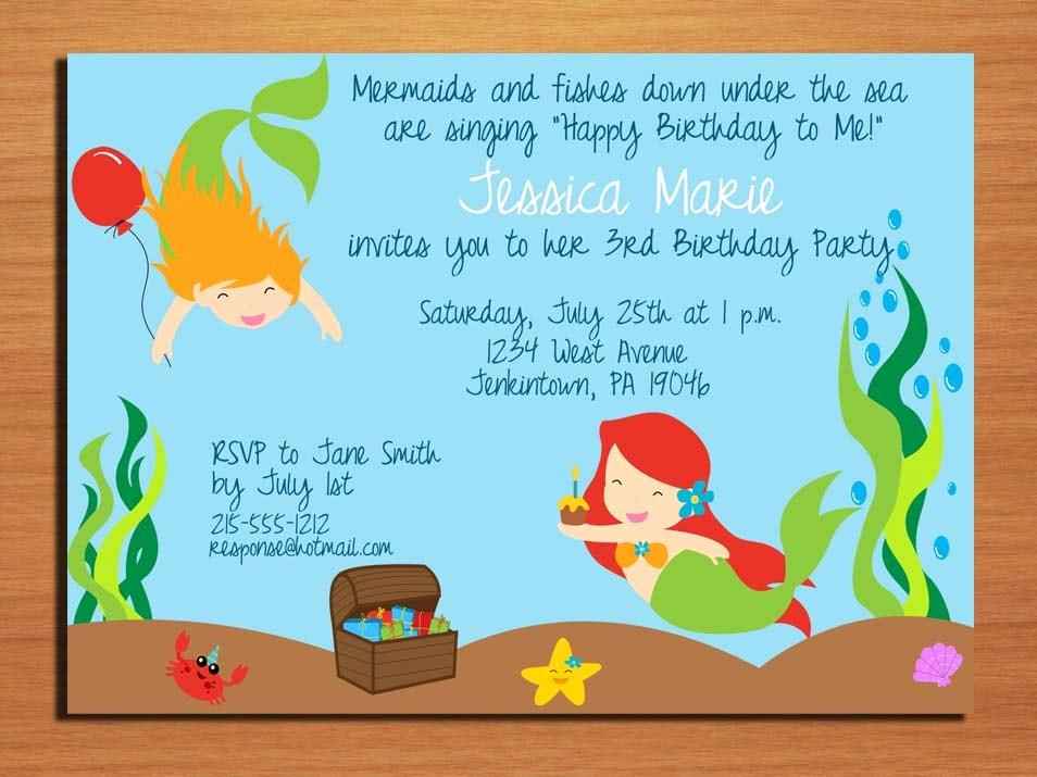 Mermaid Birthday Invitation Templates New Mermaid Invitation Template