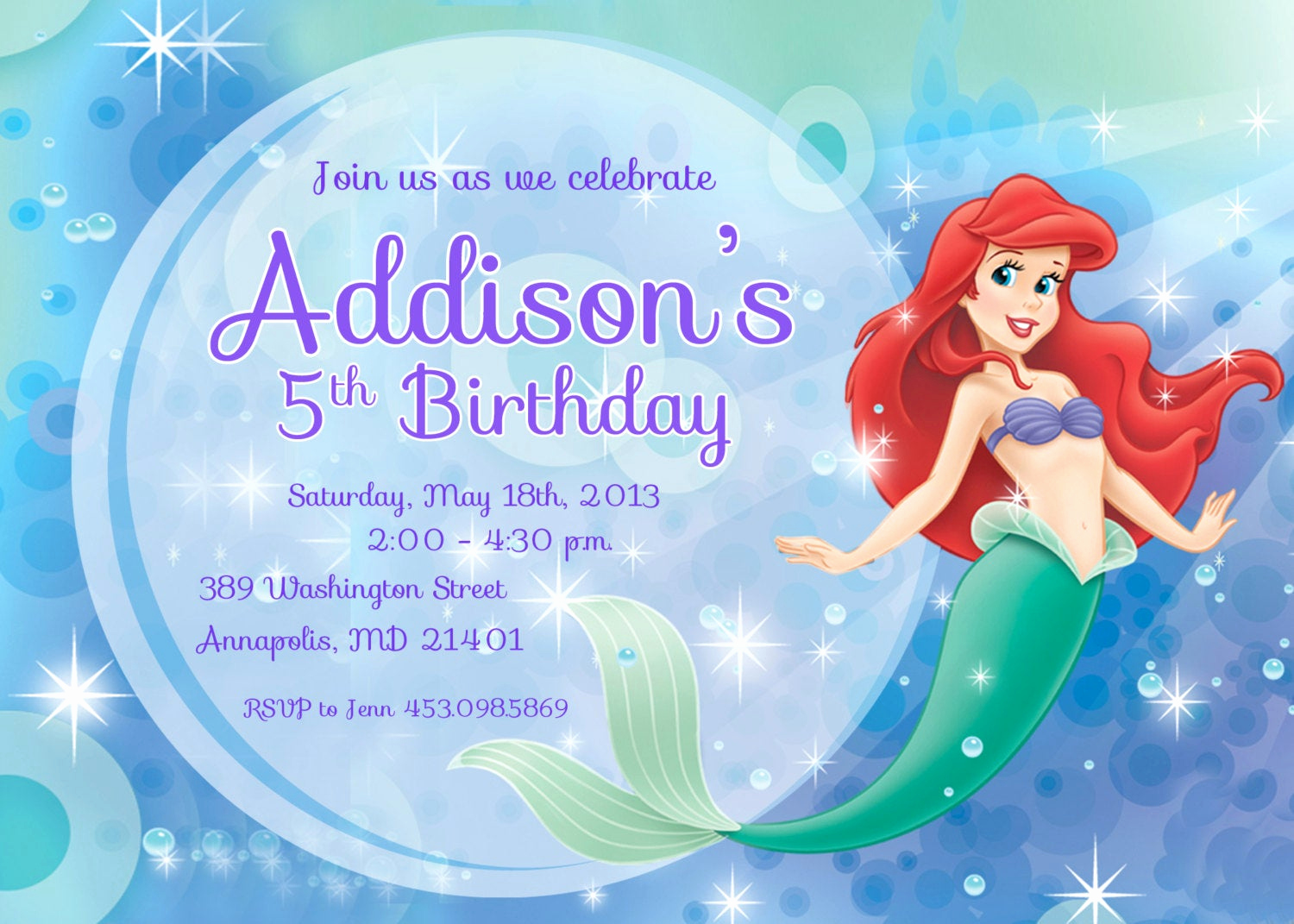 Mermaid Invitation Template Free Beautiful Little Mermaid Ariel Birthday Party Invitation Printable or
