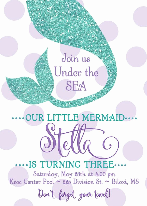 "Mermaid Invitation Template Free Beautiful Mermaid Birthday Party Invitation ""under the Sea"