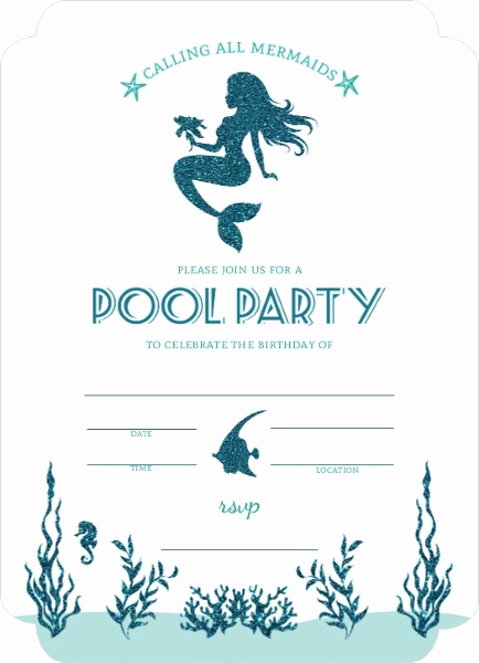 Mermaid Invitation Template Free Elegant Mermaid Pool Party Fill In the Blank Invitation